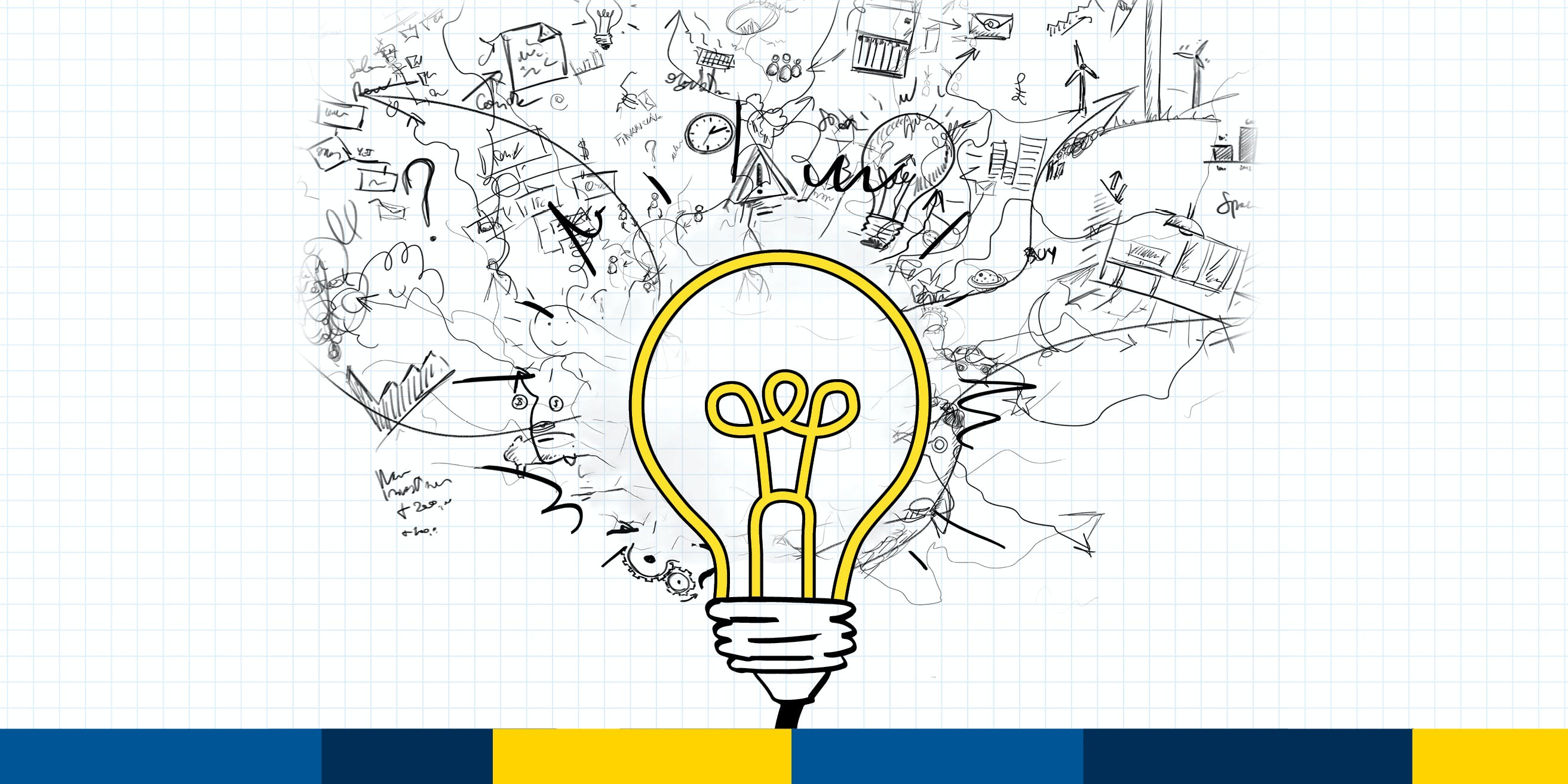 Graphic depicting a light bulb that is generating ideas.