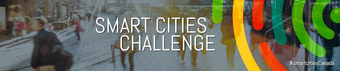 Smart Cities Challenge logo over a background of a city street