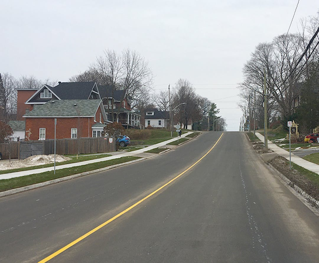 A photo of Hugel Avenue, freshly-paved and painted.