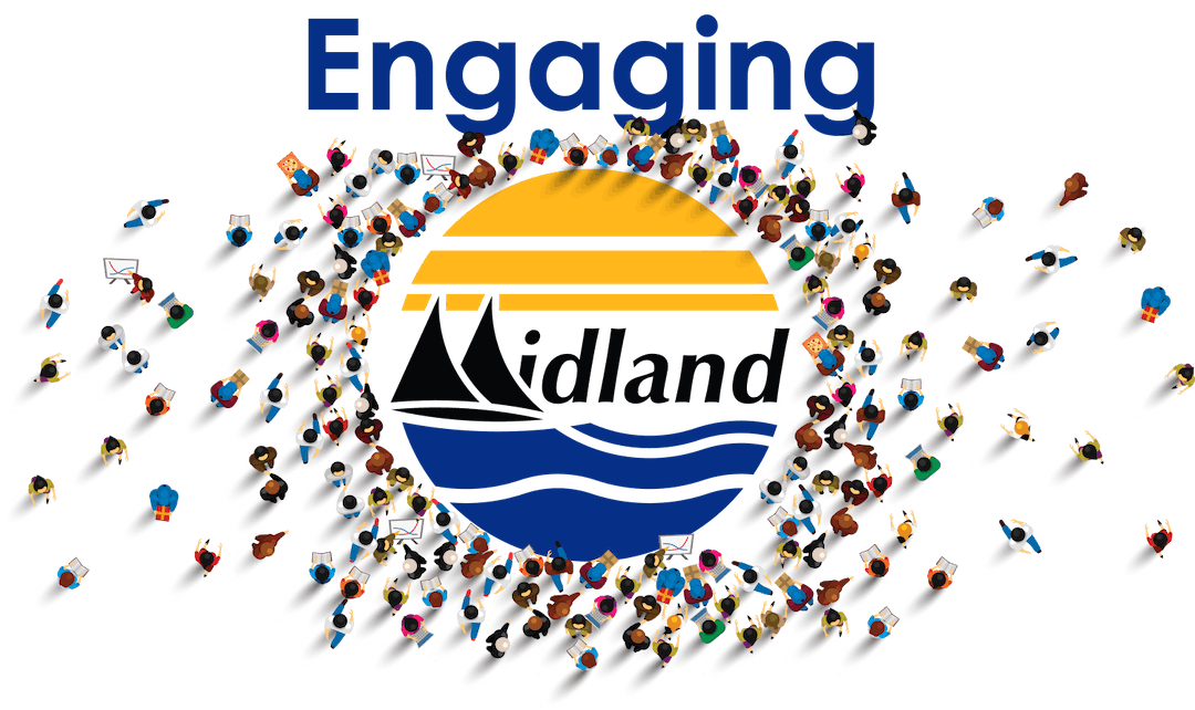 The Town of Midland logo (the M looks like two sail boat sails) on blue with yellow above) with the word 'Engaging' about it, and small illustrations of people gathering around the Town's logo.
