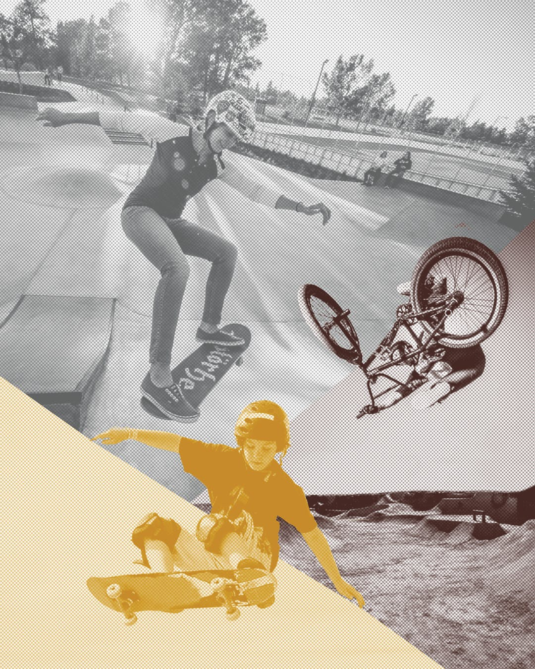 An image of people skateboarding and BMX biking