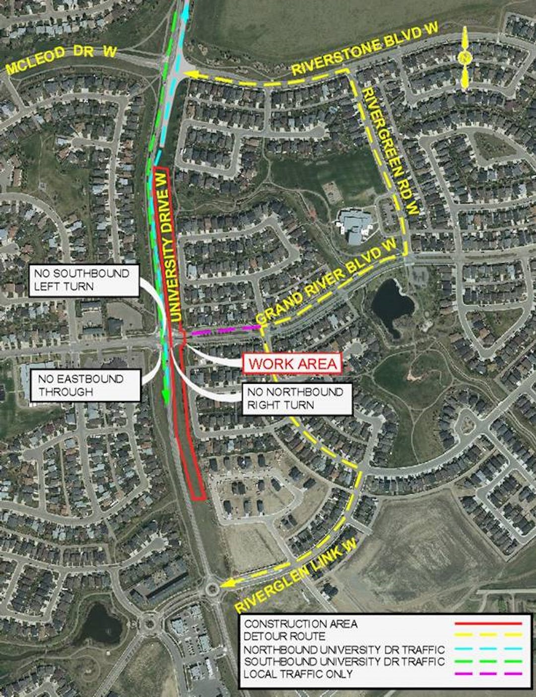 Detour map for Phase 4 - Closure of Grand River Blvd West
