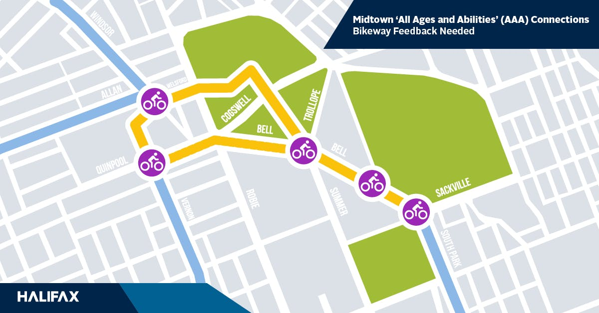 Midtown bikeway routes for investigation (yellow lines)