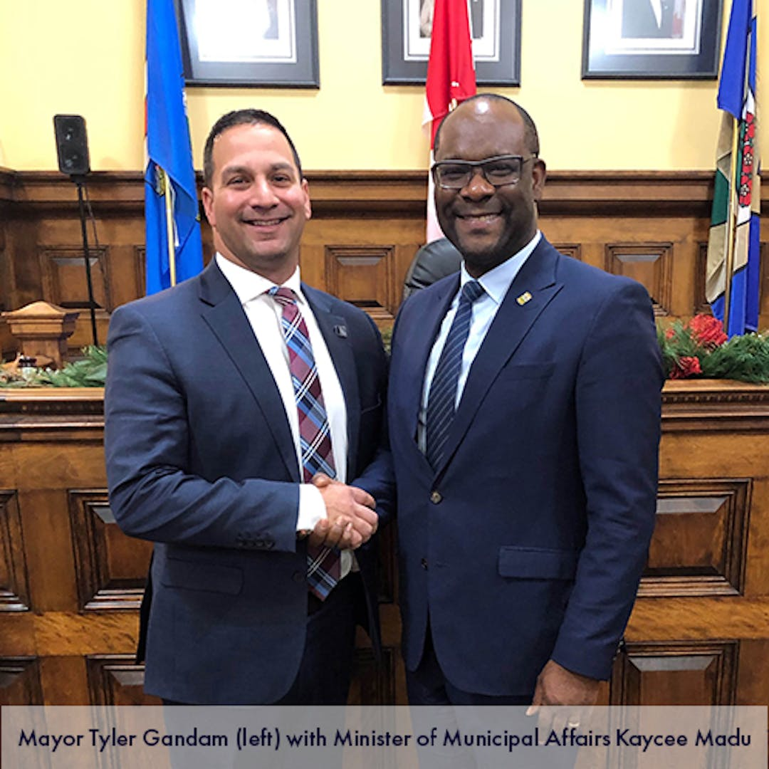 Mayor Tyler Gandam met with Minister Kaycee Madu on Dec. 17, 2019 to discuss the wastewater treatment facility, among other concerns.