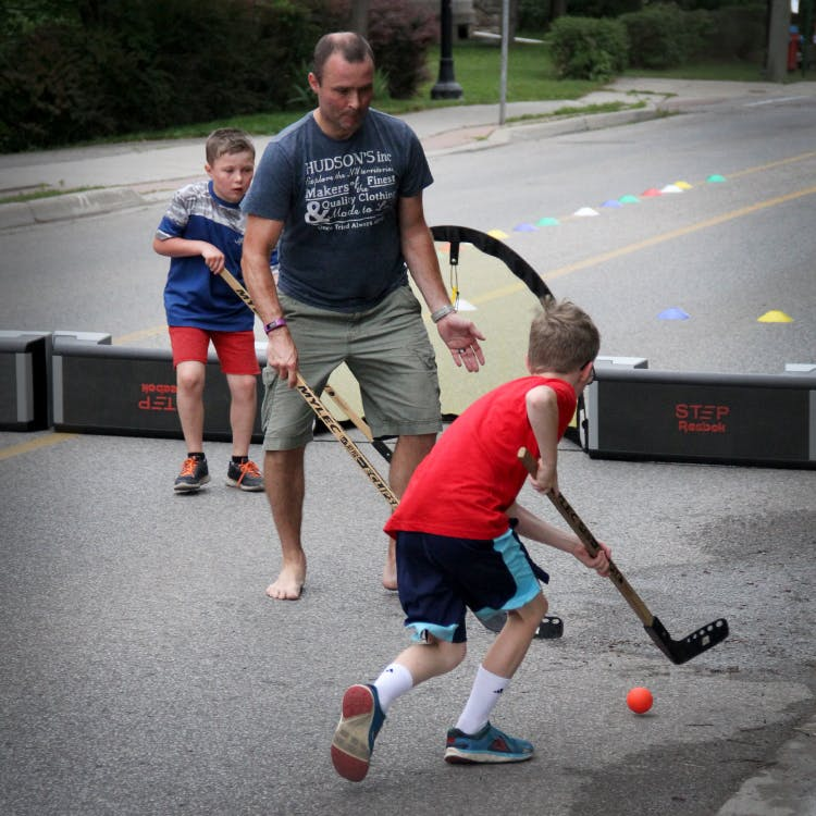 Open Streets closure on Main Street in Downtown Georgetown provided residents a chance to play road hockey, hula hoops, yoga and more.