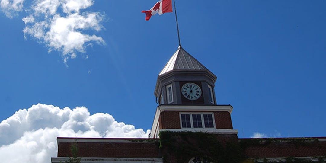 exterior image looking up at Town Hall clock tower and windows