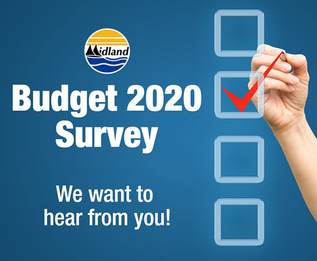 """A hand drawing a check mark in one of four white boxes with the text """"Budget 2020 Survey"""" and """"We want to hear from you!"""""""
