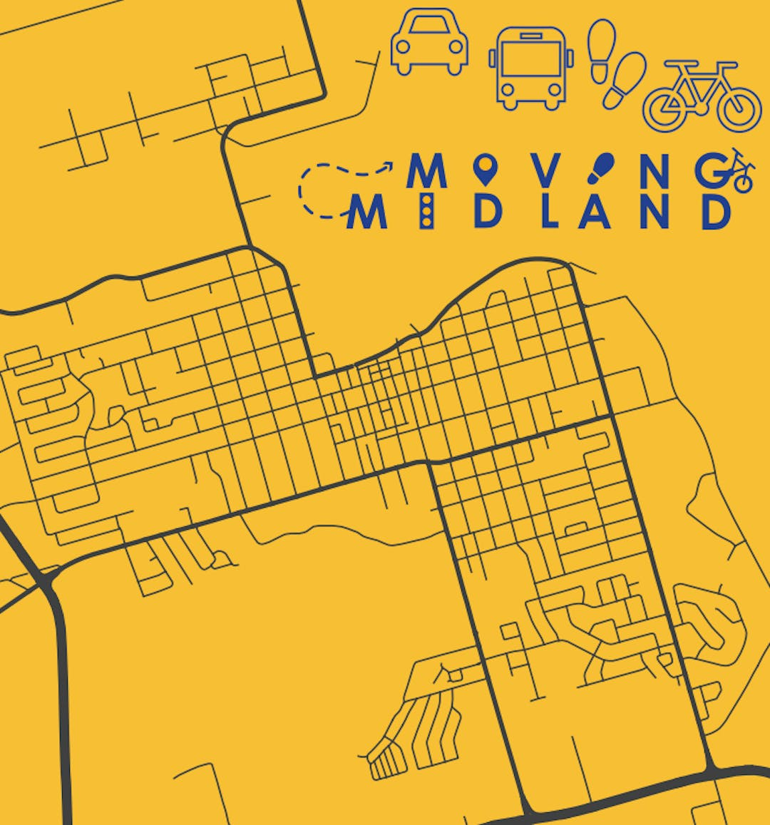 A map of the streets in Midland with different transportation logos (car, bus, footsteps, bicycle) above a logo that says Moving Midland.