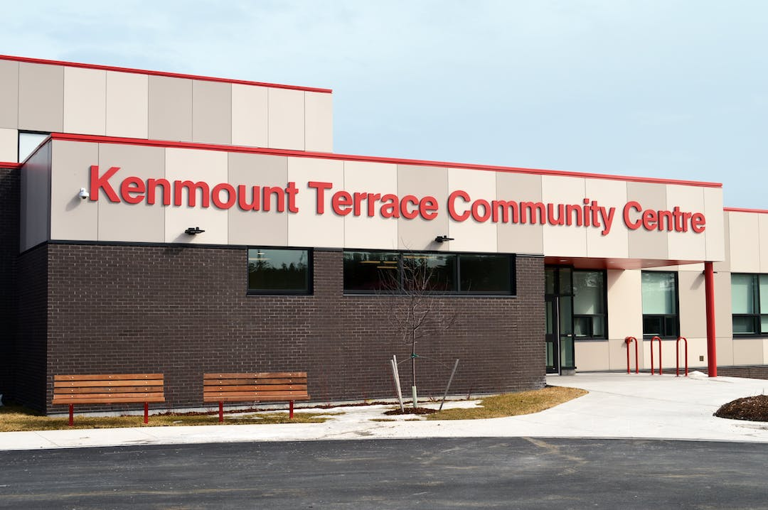 picture of Kenmount Terrace Community Centre with name over building entrance