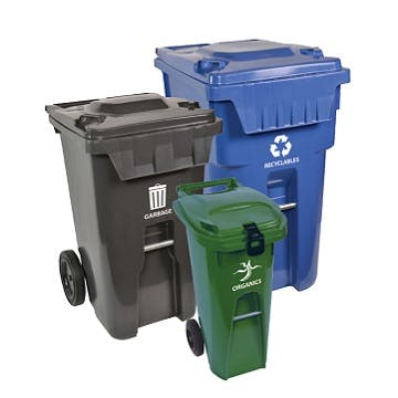 Picture of three curbside waste recycling bins. large size is blue, medium size is grey, small size is green.