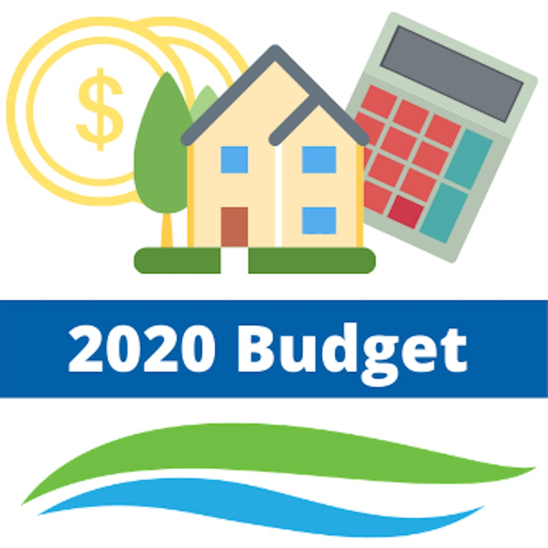 2020 Budget with house, money, and calculator