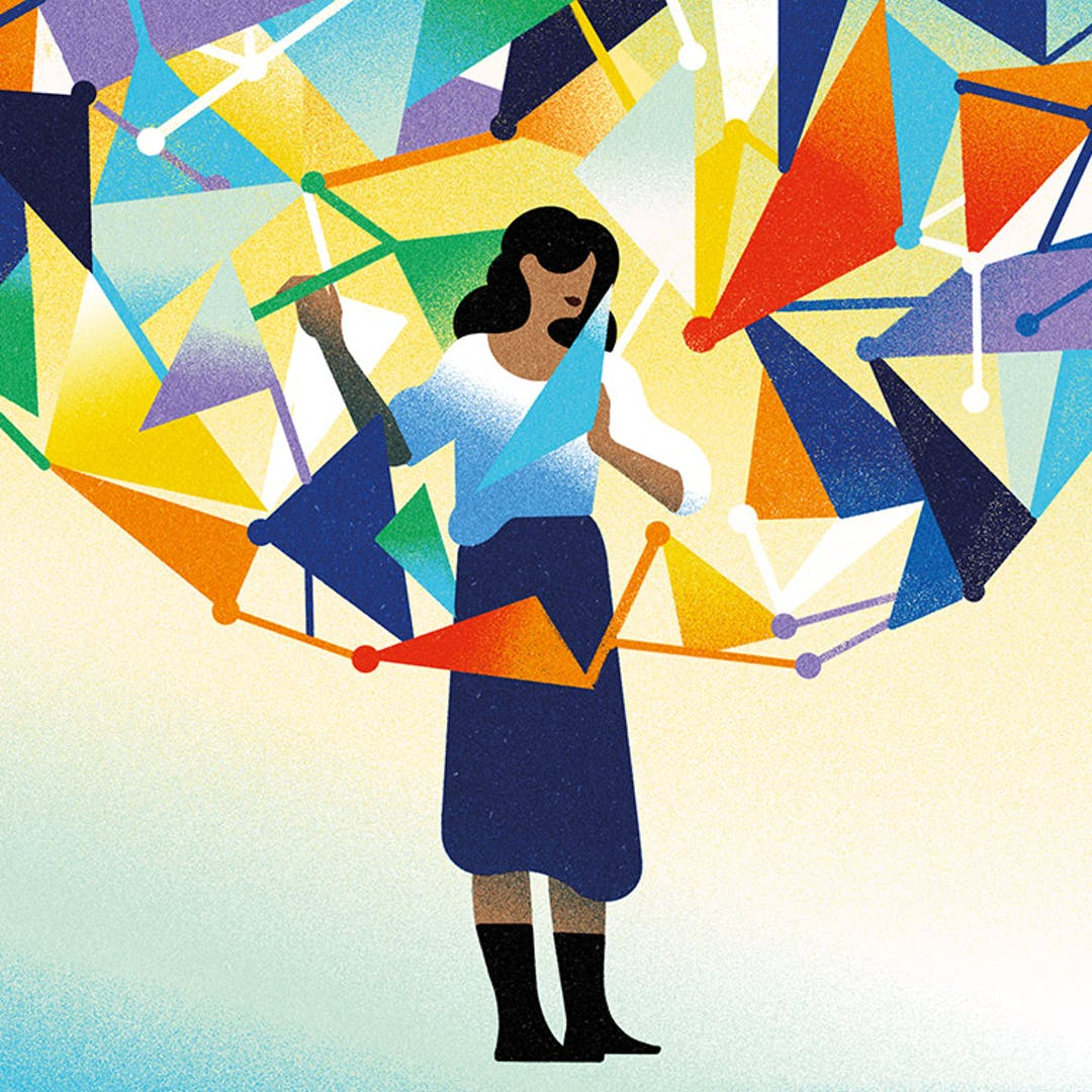 An illustration of a woman standing in the middle of colourful triangles to convey that data is all around us.