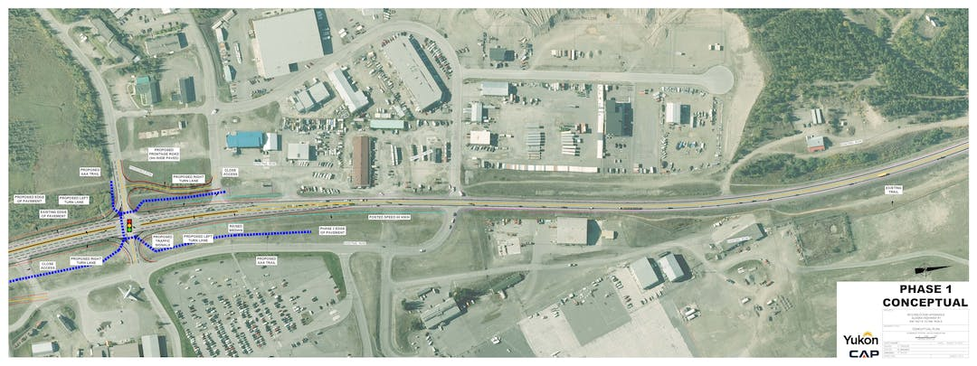 Yukon government Department of Highways and Public Works is proposing a series of safety upgrades through the Hillcrest commercial area along the Alaska Highway. The closures, and redirection of traffic onto a frontage road serves to eliminate uncontrolled access onto the highway. Further, signalized intersections at two select locations will provide pedestrians and cyclists a safe and controlled crossing opportunity, and support the overall reduction of speed through this area from 70km/hr to 60km/hr.