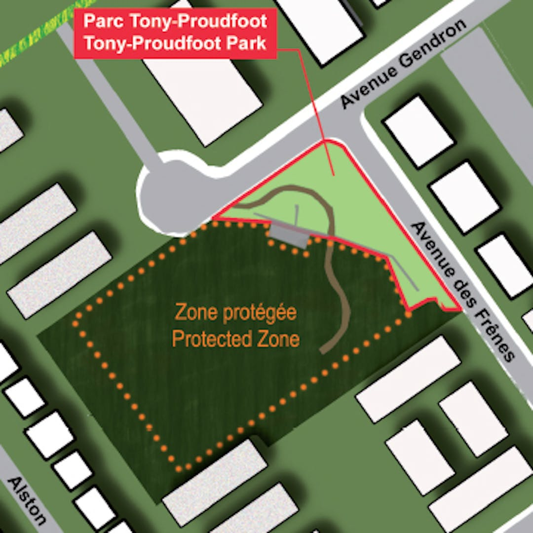 Location of the Tony-Proudfoot Park