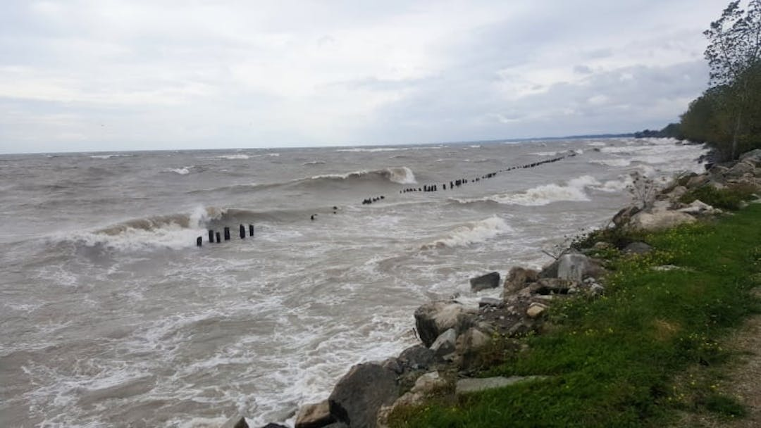 The potential of strong water surges along Lake Erie may result in damage to shorelines, warns ERCA. (Essex Region Conservation Authority)