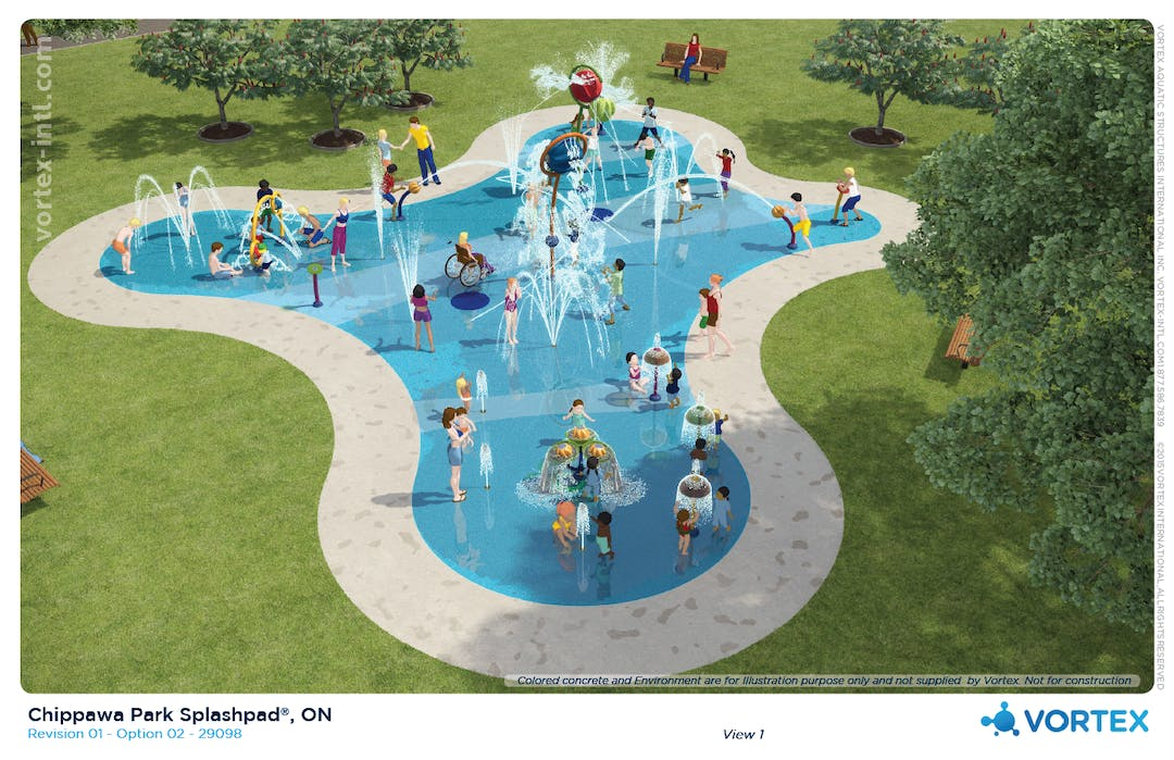 We have chosen to integrate some innovative thinking into this splash pad design.  The idea is to separate the users by age group by proposing age appropriate equipment selections. What you end up with is a Toddler Bay area, a Teen Bay area buffered by a Family Bay area with elements that cater nicely to each age group and to discourage cross over and mixing of the various ager groups, particularly toddler and teen. This philosophy of splash pad design has worked extremely well over the more than 300 installations completed by ABC Recreation Ltd.