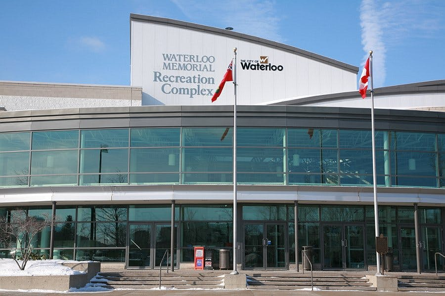 The front exterior of the Waterloo Memorial Recreation Complex