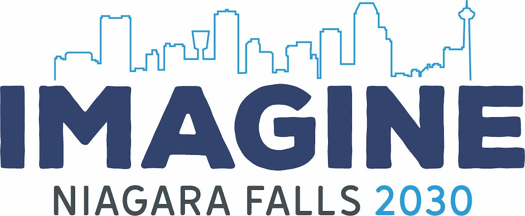 Skyline silhouette of Niagara Falls above text: Imagine Niagara Falls 2030
