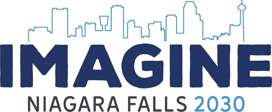 Skyline silhouette of Niagara Falls above text: Imagine Niagara Falls 2030