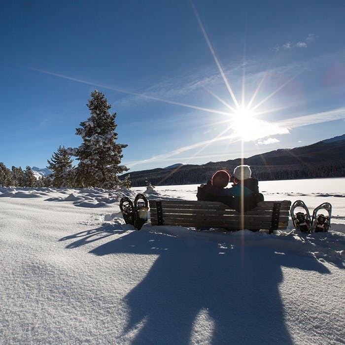 Snowshoeing at Maligne Lake