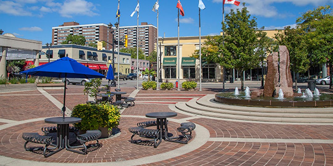 Image of Burlington Civic Square in the summer.