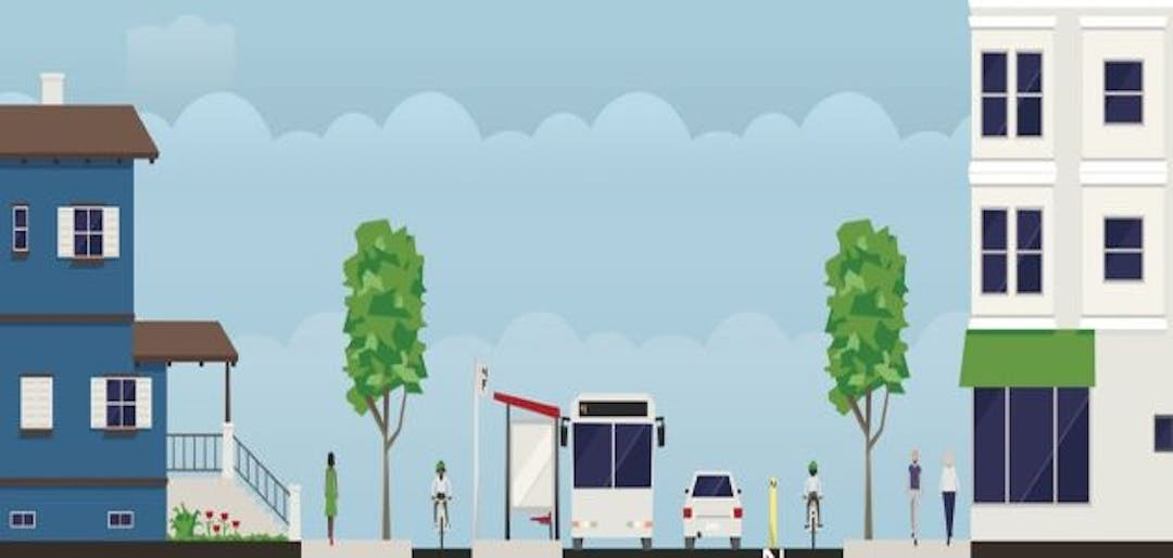 A street is shown with trees, pedestrians on sidewalks, different styles of cycling lanes, a bus stop and a car.