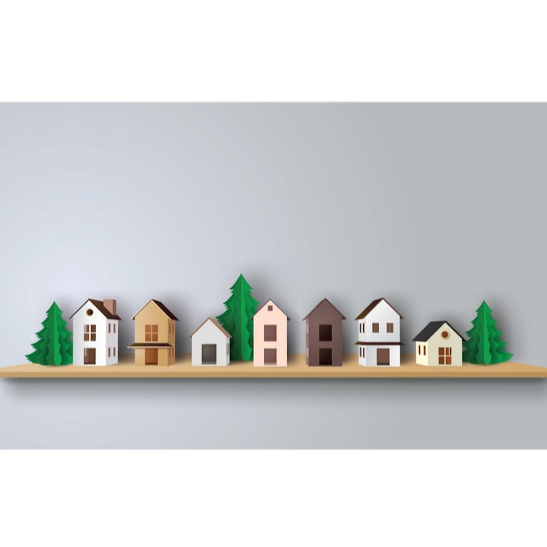 Houses on shelf