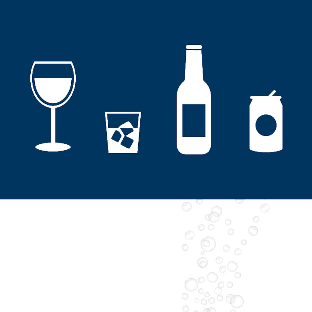 Silhouettes of a glass of wine, a mixed drink, a bottle of beer and a canned beverage against a navy blue back ground.