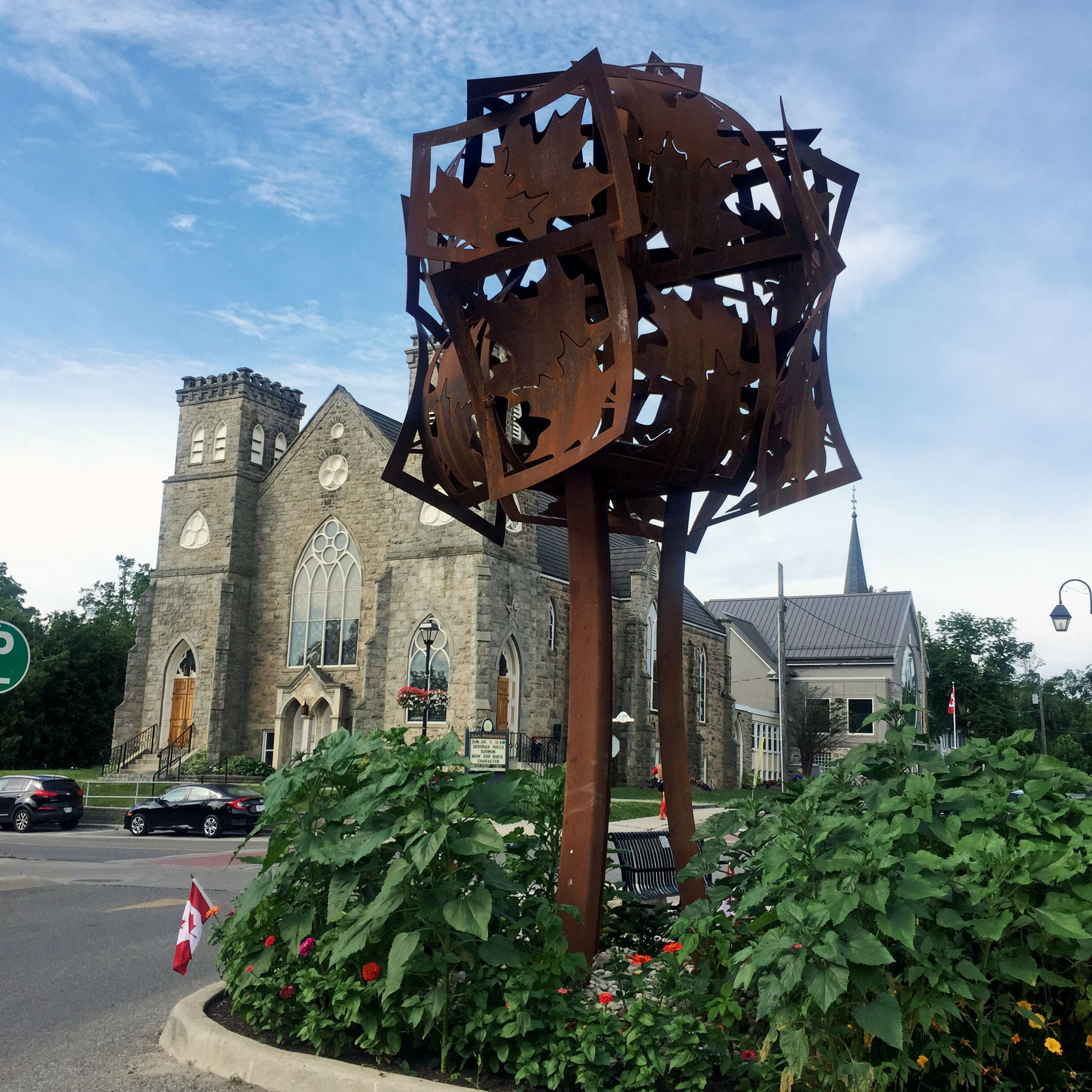 Memorial Tree by Ken Hall is located in downtown Georgetown and was commissioned by the Downtown Georgetown BIA
