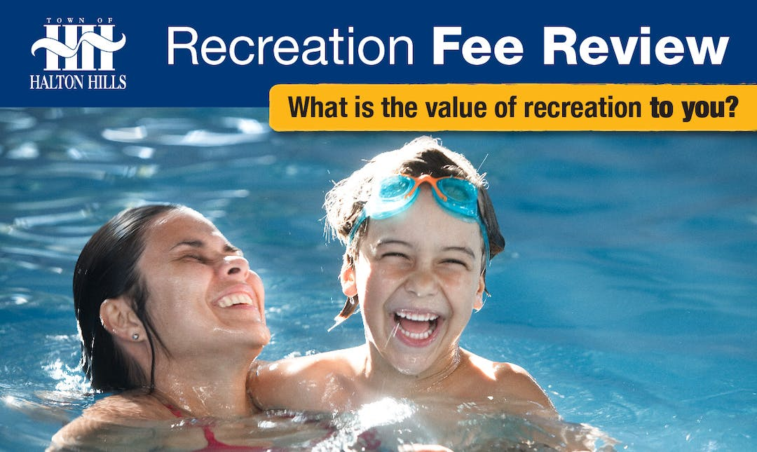 Recreation fee review survey banner - what is the value of recreation to you? Photo of parent and child swimming.