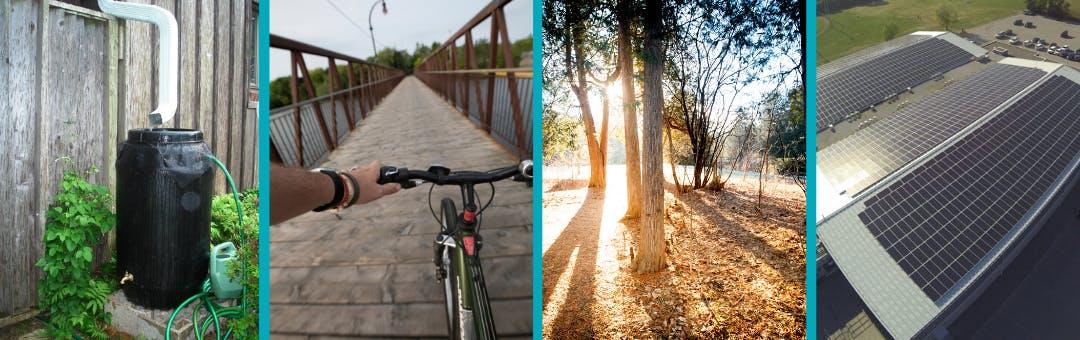 Four photos: rain barrel, cyclist, trees, solar panels.