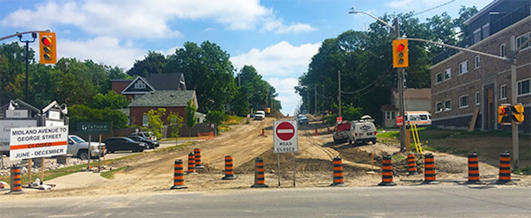 A photo of Hugel Avenue dug up during the reconstruction work.