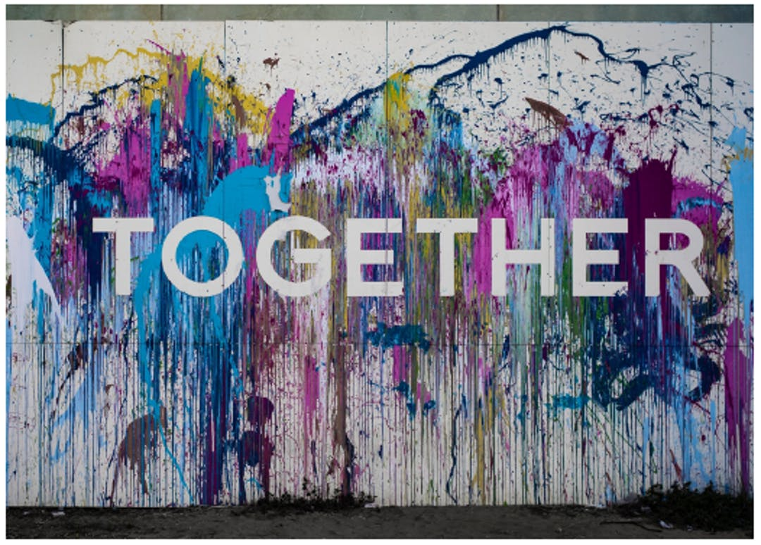 'TOGETHER' with rainbow paint splatters