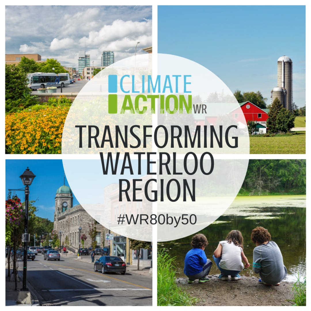 "A circle containing the words ""ClimateActionWR: Transforming Waterloo Region, #WR80by50"" is surrounding by four local scenes: a transit bus in a core area, a red barn on a farm, a historic building, and a pond with children playing at the edge."