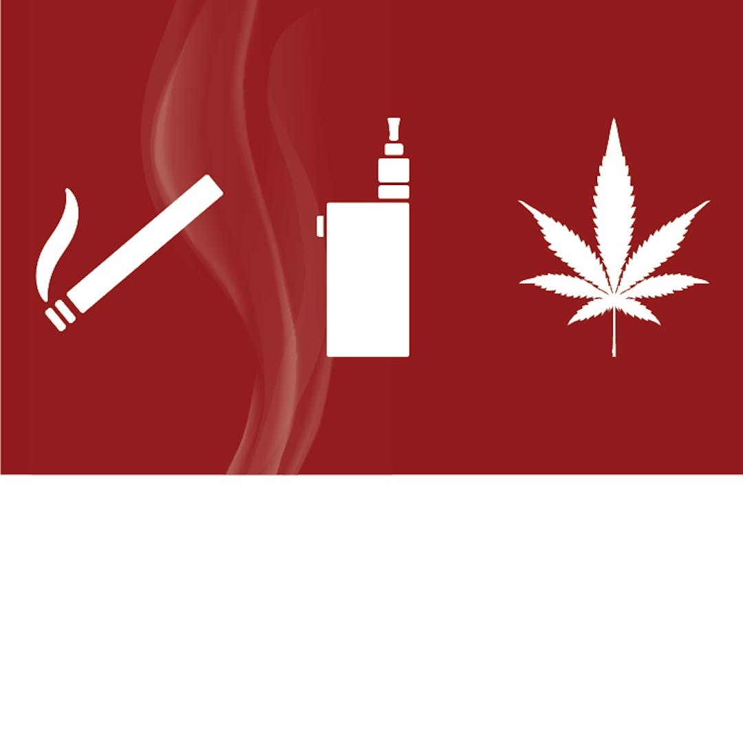 A silhouette of a cigarette, a vaping device and a cannabis leaf against a maroon background
