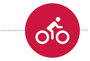 An icon of a cyclist within a red circle.